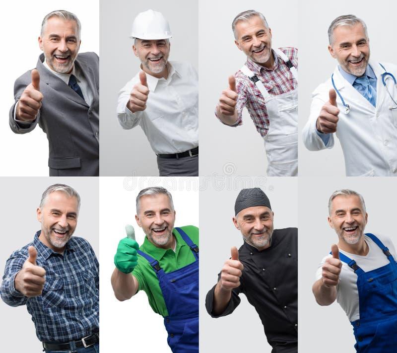 Collage dei ritratti professionali dei lavoratori immagini stock