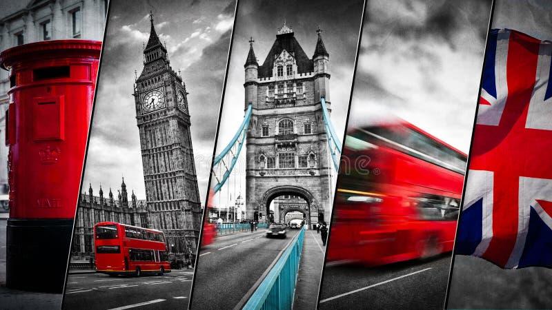 Collage dei simboli di Londra, Regno Unito immagine stock