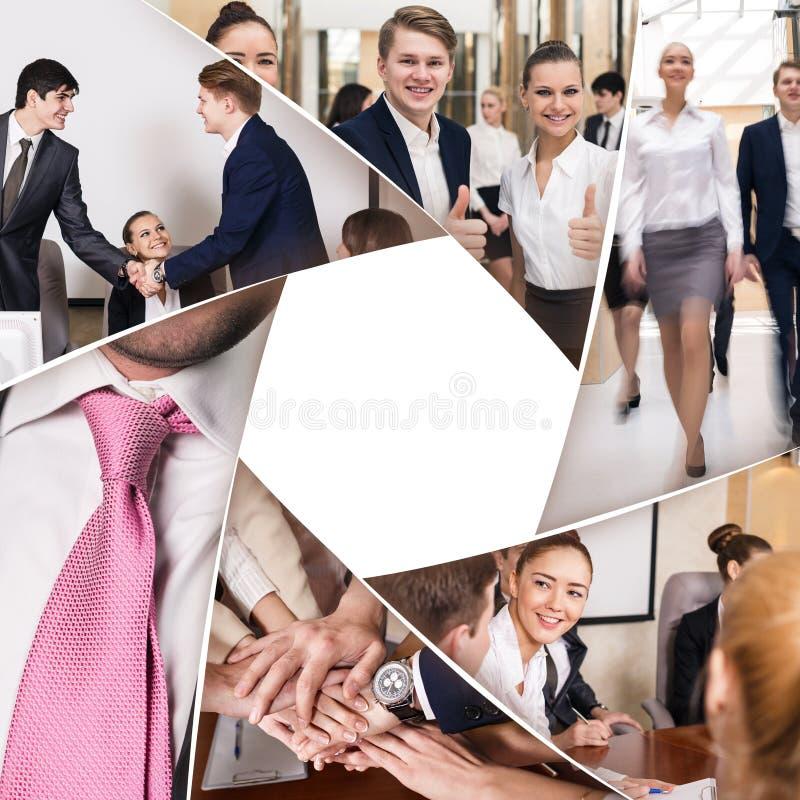 Collage dei soci commerciali sul lavoro in ufficio fotografie stock