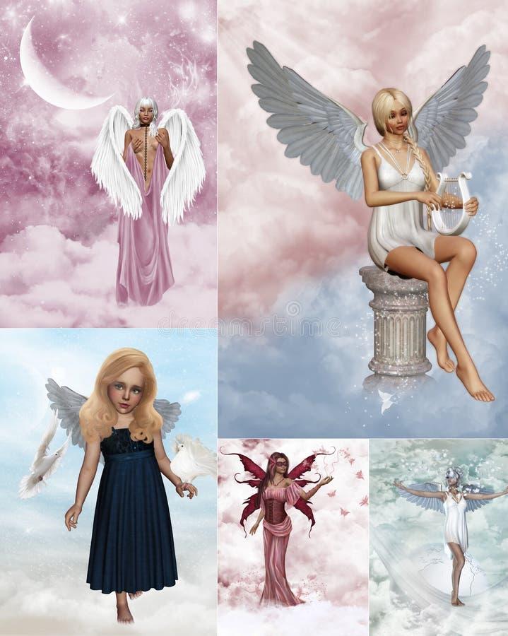 Collage del ángel stock de ilustración