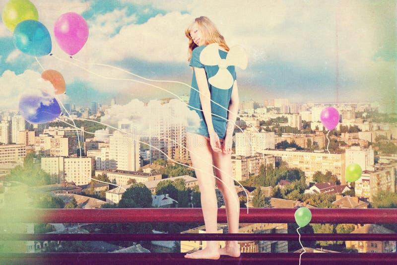 Collage del arte con la mujer hermosa foto de archivo