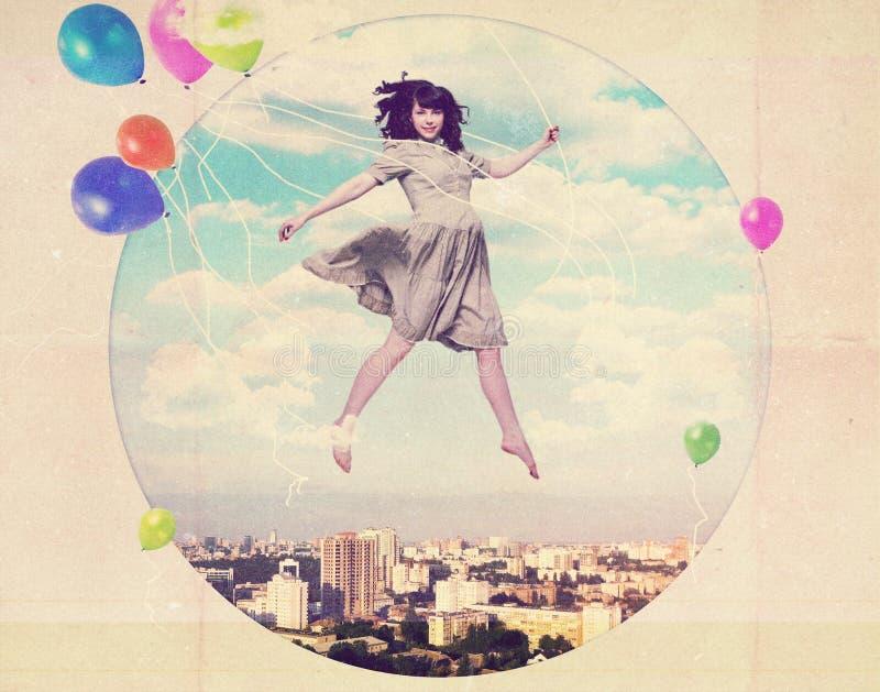 Collage del arte con la mujer hermosa imágenes de archivo libres de regalías