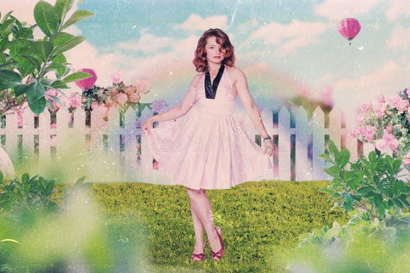 Collage del arte con la mujer hermosa fotos de archivo libres de regalías