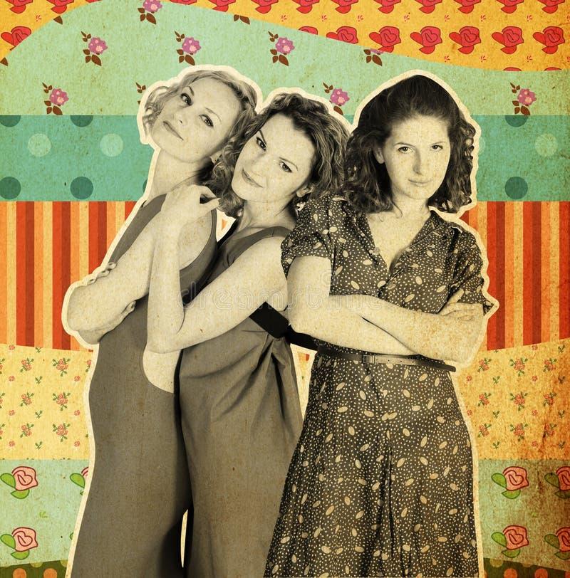 Collage del arte con tres mujeres imágenes de archivo libres de regalías