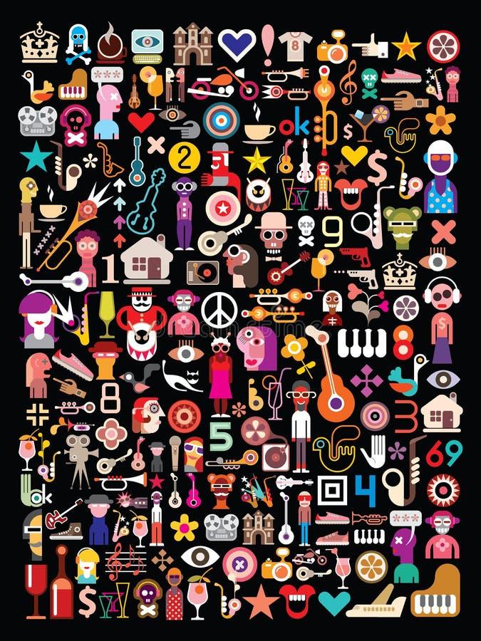 Collage del arte en negro stock de ilustración