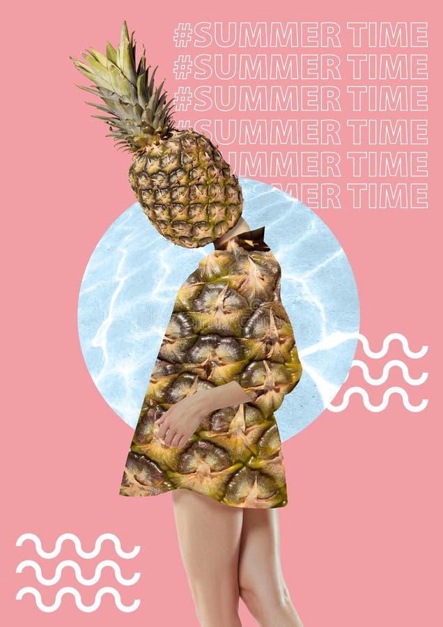 Collage del arte moderno Muchacha con la cabeza de la piña fotos de archivo