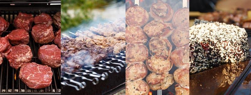 Collage del barbecue della carne immagine stock libera da diritti