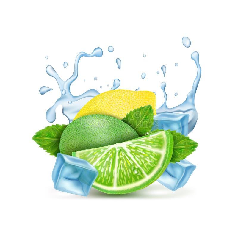 Collage del cóctel, del limón, de la menta y de la cal del mojito con un chapoteo del agua Vector stock de ilustración