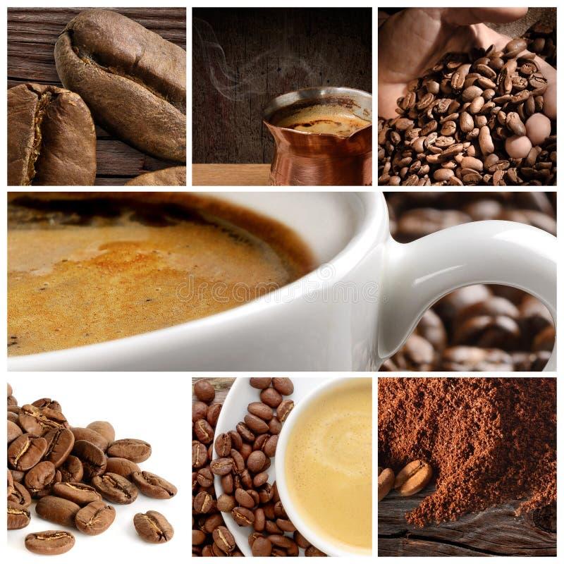 Collage del caffè con la tazza ed i fagioli di caffè immagini stock libere da diritti