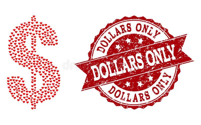 Collage del corazón del amor del icono del símbolo del dólar y de la filigrana del Grunge ilustración del vector