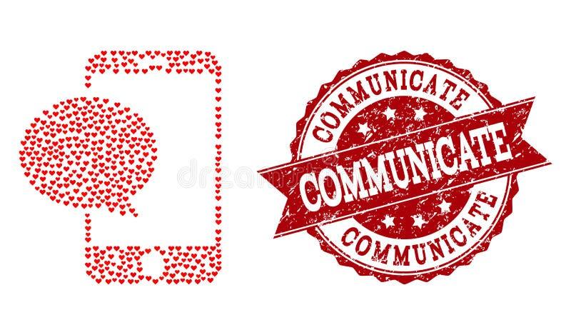 Collage del corazón del amor del icono y del sello de goma del mensaje de Smartphone libre illustration