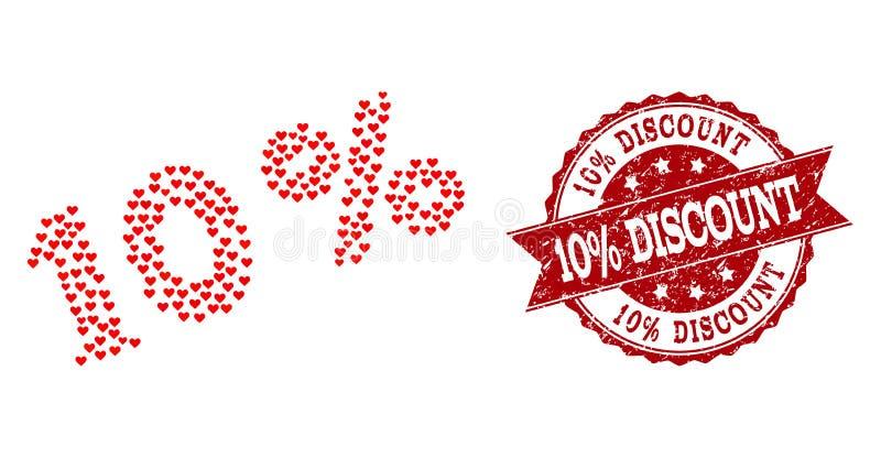 Collage del corazón del amor del 10 por ciento de icono y sello de goma libre illustration