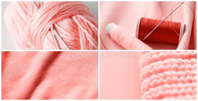 Collage del cucito nel colore di corallo vivente immagine stock libera da diritti