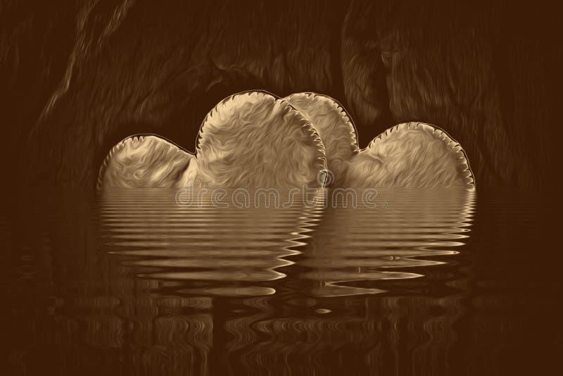 Collage del cuore dell'oro per struttura del materiale illustrativo di amore, scrivente illustrazione di stock