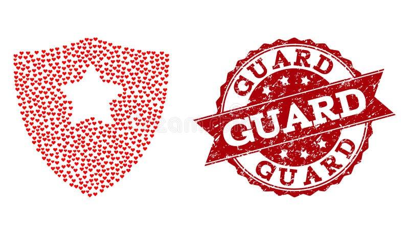 Collage del cuore di amore della guardia Shield Icon e della guarnizione di lerciume illustrazione di stock
