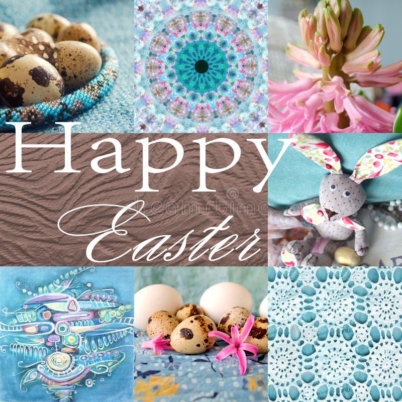 Collage del día de fiesta de Pascua con el jacinto, la flor, el conejo, los huevos de codornices y la pintura abstracta ilustración del vector