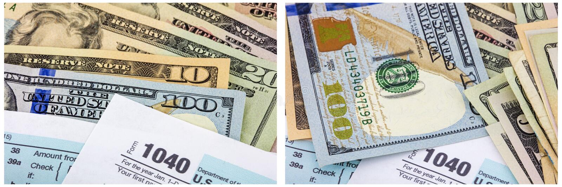 collage 1040 del denaro contante di imposta sul reddito fotografie stock libere da diritti