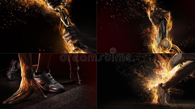 Collage del deporte con el fuego y la energía imagen de archivo