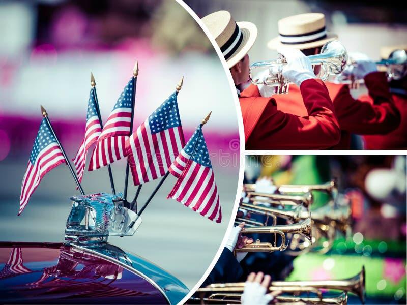 Collage del desfile americano imágenes de archivo libres de regalías