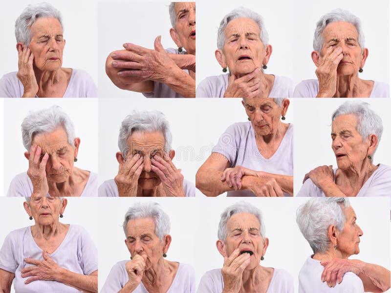 Collage del dolor mayor de la mujer en blanco fotos de archivo libres de regalías