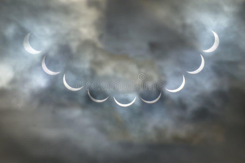 Collage 2015 del eclipse solar fotos de archivo libres de regalías