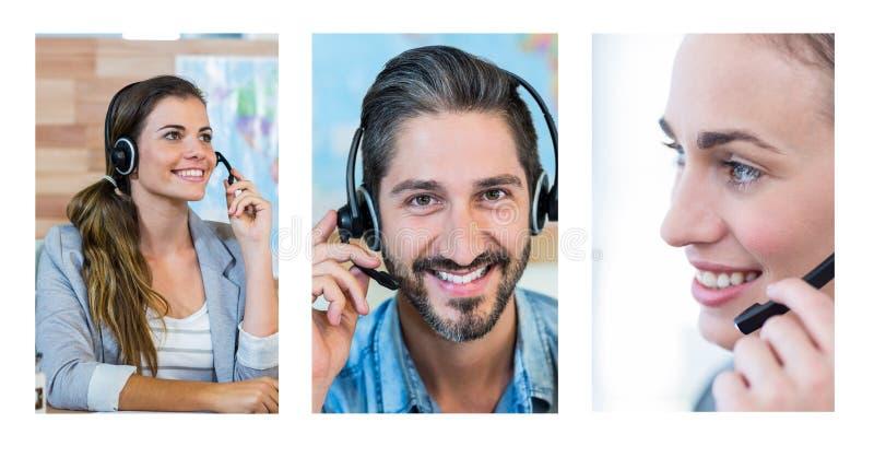 Collage del equipo de la ayuda del servicio de atención al cliente en centro de atención telefónica imágenes de archivo libres de regalías