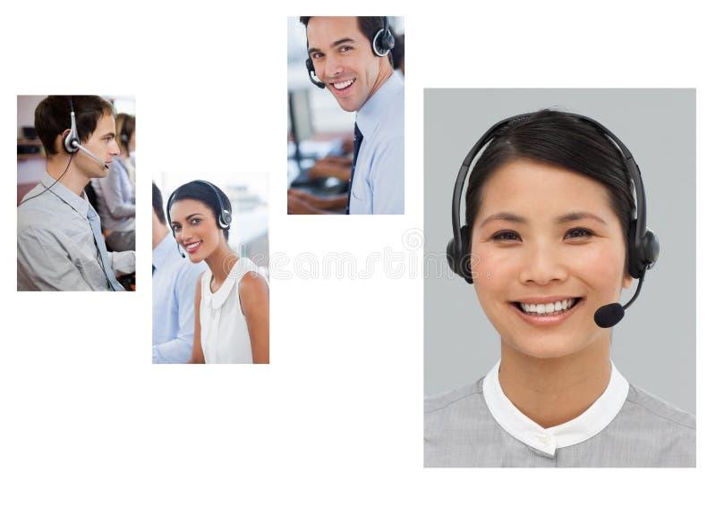 Collage del equipo de la ayuda del servicio de atención al cliente en centro de atención telefónica foto de archivo