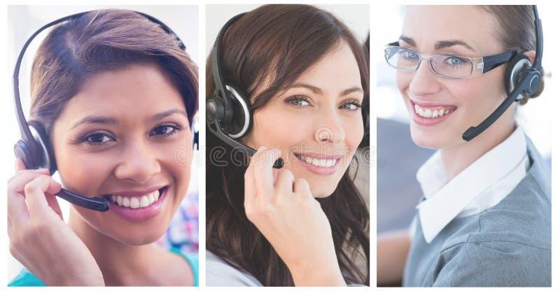Collage del equipo de la ayuda del servicio de atención al cliente en centro de atención telefónica fotografía de archivo libre de regalías