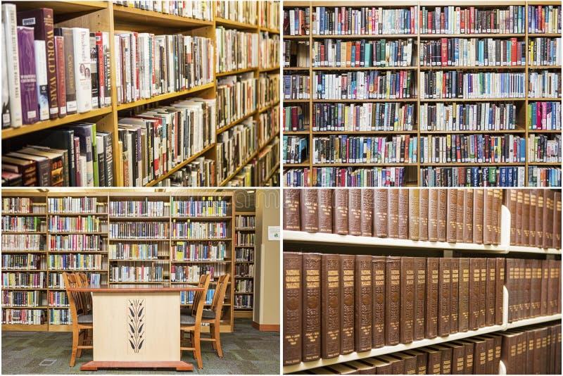Collage del escritorio de la escuela de la educación de los estantes de libros de la biblioteca foto de archivo libre de regalías