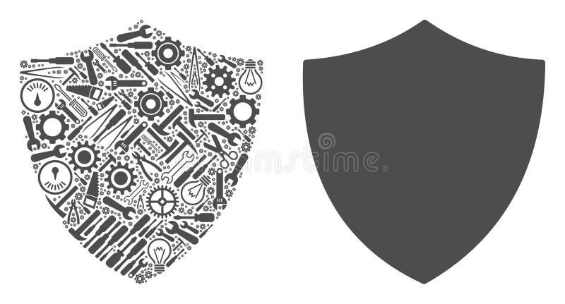 Collage del escudo de las herramientas del servicio stock de ilustración