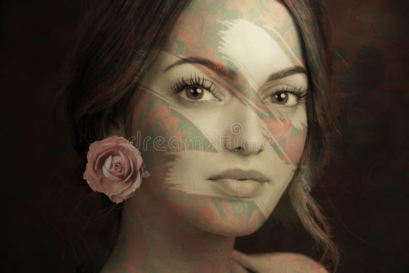 Collage del extracto del cartel del arte contempor?neo con la mujer atractiva Concepto de dise?o m?nimo Arte moderno imágenes de archivo libres de regalías
