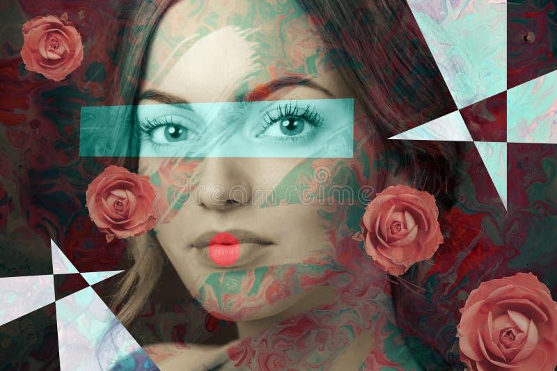 Collage del extracto del cartel del arte contempor?neo con la mujer atractiva Concepto de dise?o m?nimo Arte moderno fotos de archivo libres de regalías