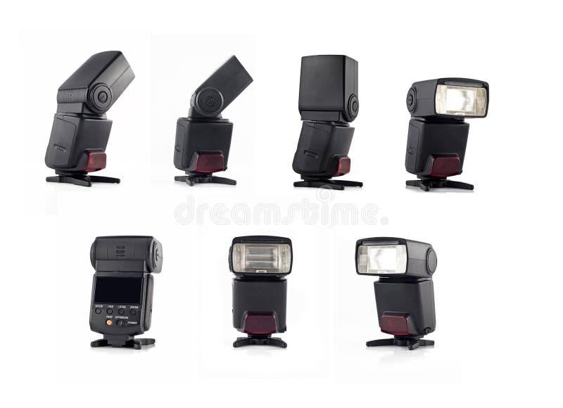 Collage del flash sul basamento per le viste della macchina fotografica digitale fotografia stock libera da diritti