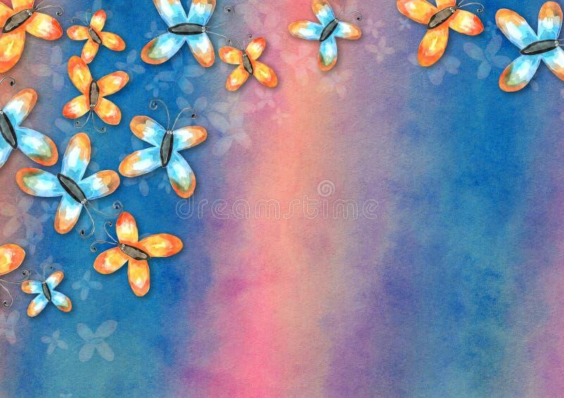 Collage del fondo della carta della farfalla dell'acquerello illustrazione vettoriale