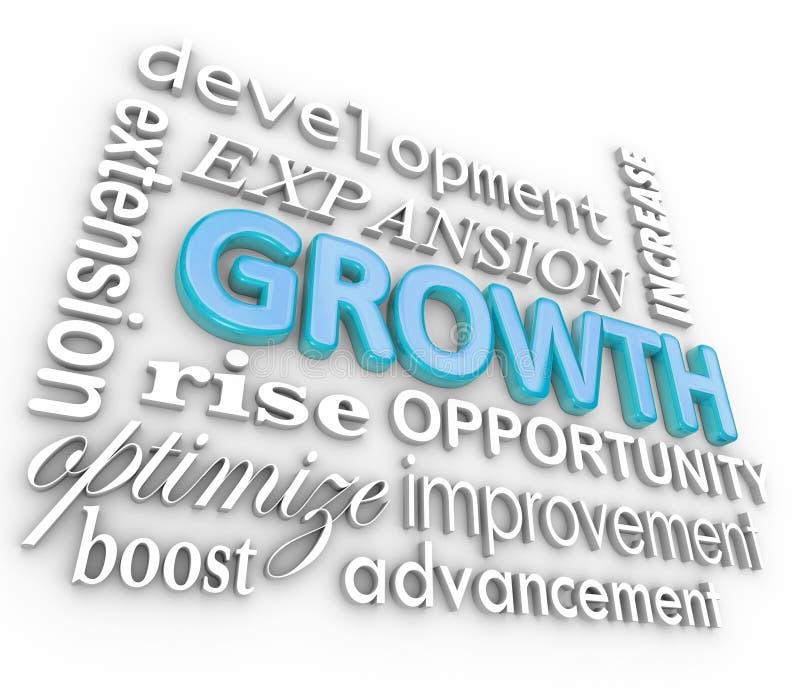 Collage del fondo di parola di crescita 3d che coltiva aumento in aumento royalty illustrazione gratis