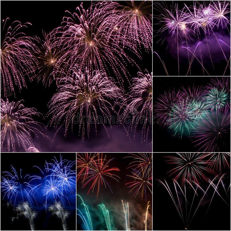 Collage Del Fuoco D Artificio Fotografia Stock