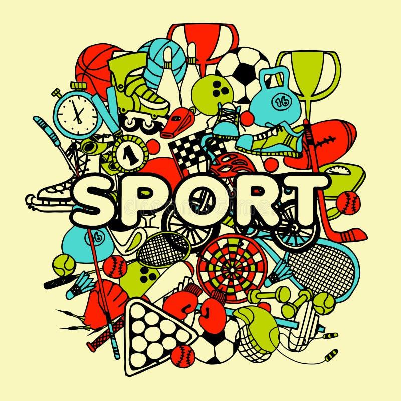 Collage del garabato del deporte stock de ilustración