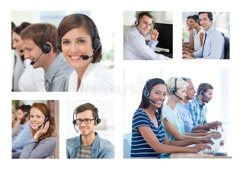 Collage del gruppo di aiuto di servizio di assistenza al cliente nella call center fotografia stock
