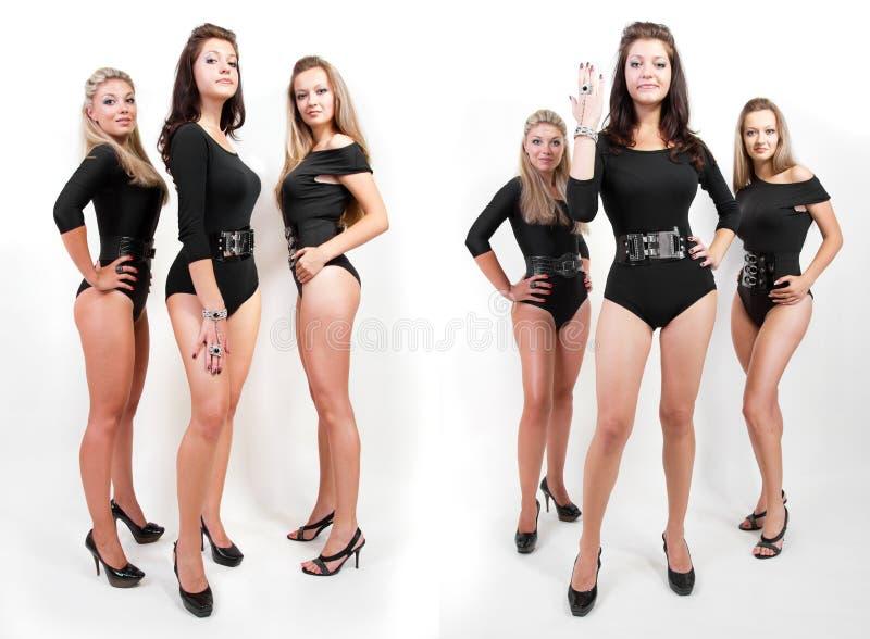 Collage del gruppo di giovani donne calde in tute fotografia stock libera da diritti
