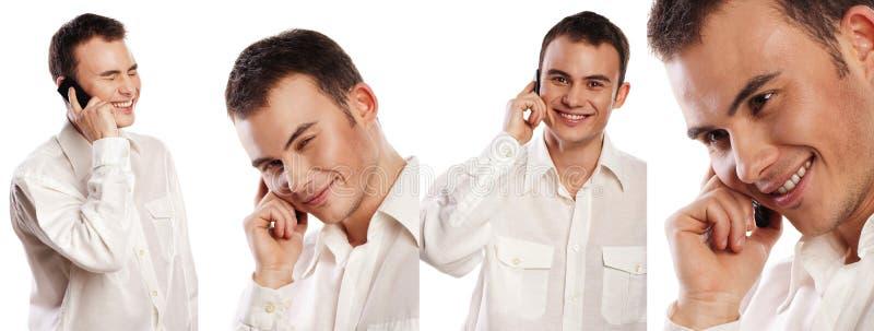 Collage del hombre de negocios de los retratos con el teléfono aislado en el fondo blanco fotos de archivo