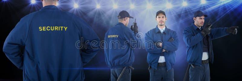Collage del hombre del guardia de seguridad contra fondo del concierto imagen de archivo
