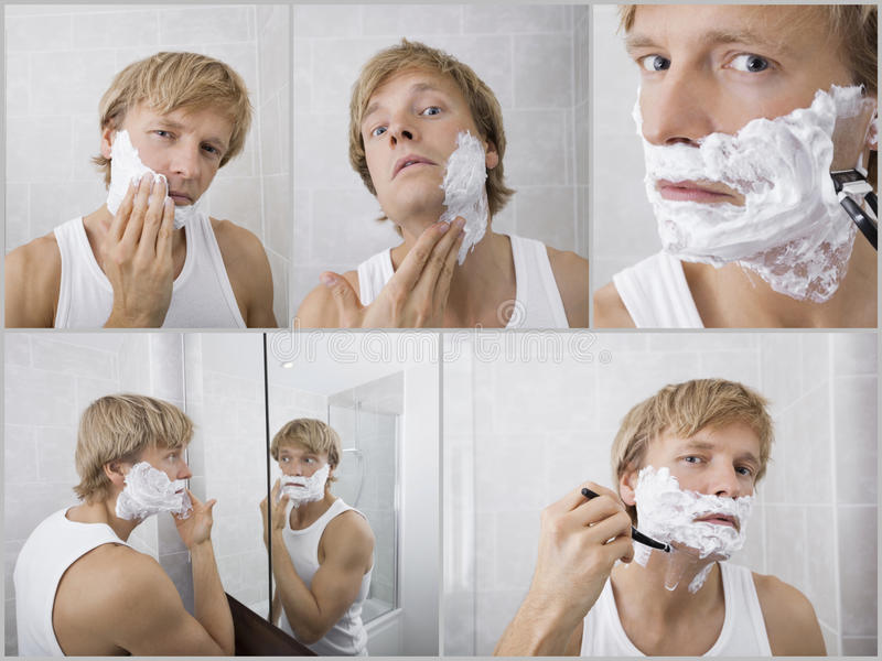Collage del hombre joven que afeita en cuarto de baño fotografía de archivo