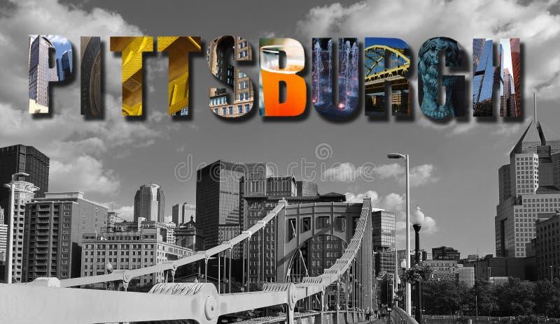 Collage del horizonte del PA de Pittsburgh imagen de archivo