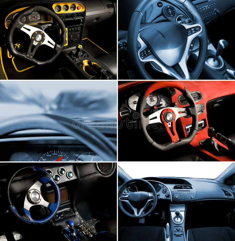 Collage del interior del coche deportivo imagen de archivo libre de regalías