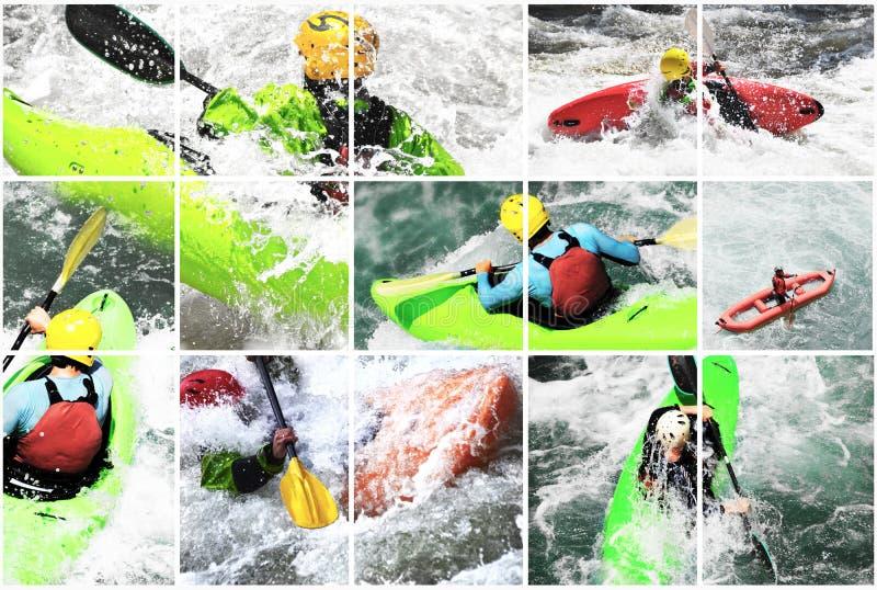 Collage del kajak de Whitewater, imagen de archivo