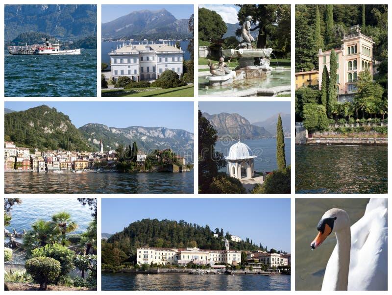 Collage del lago Como imágenes de archivo libres de regalías