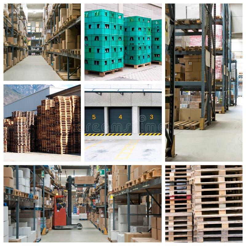 Collage del magazzino della fabbrica fotografia stock