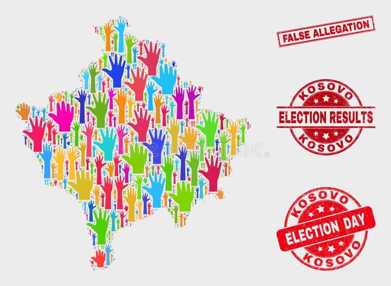 Collage del mapa de Kosovo de la elección y del sello de la alegación falsa del Grunge ilustración del vector