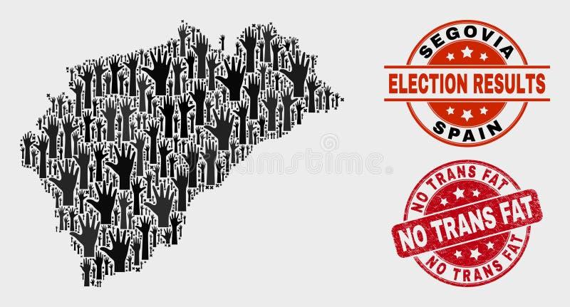 Collage del mapa de la provincia de Segovia de la elección y rasguñado ningún sello gordo del sello del transporte ilustración del vector