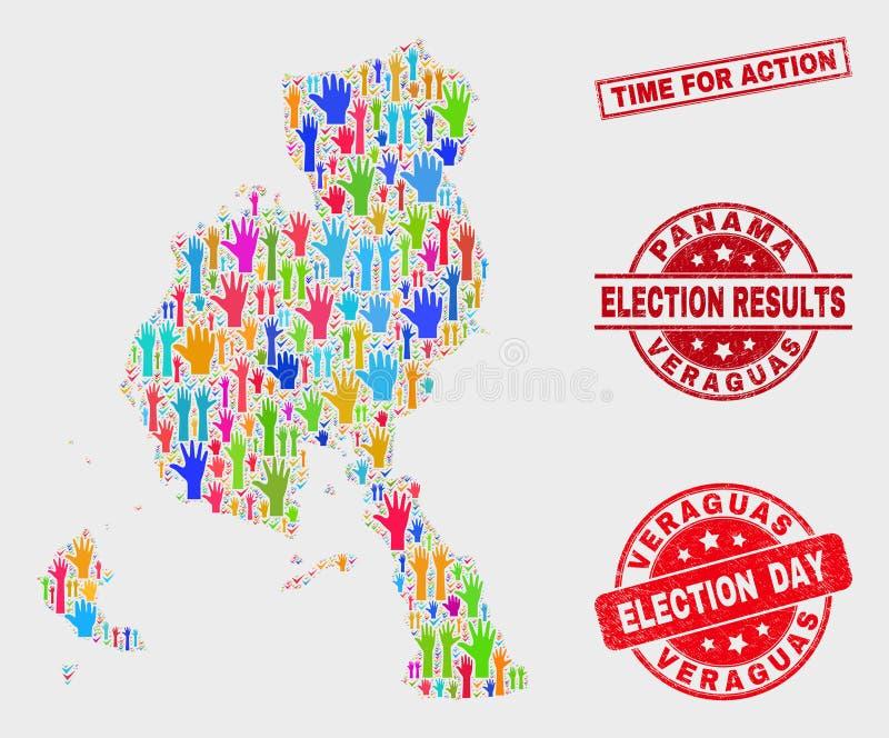 Collage del mapa de la provincia de Veraguas de la elección y del tiempo de la desolación para la filigrana de la acción libre illustration